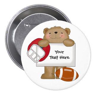 Boletín del oso del fútbol (personalizable) pin
