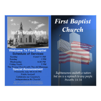 Boletín semanal adaptable de la iglesia (patriótic plantilla de membrete
