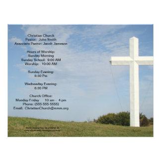 "Boletines de la iglesia, cruz blanca, personalizar folleto 8.5"" x 11"""
