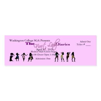 Boleto adaptable del acontecimiento (mujeres) tarjetas de visita mini