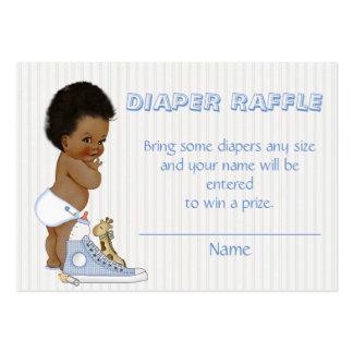 Boleto afroamericano de la rifa del pañal del bebé tarjetas de visita grandes