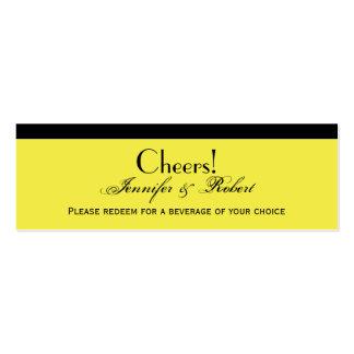 Boleto amarillo limón de la bebida del boda del pl tarjeta de visita