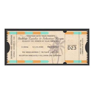 """Boleto anaranjado del boda del documento de invitación 4"""" x 9.25"""""""