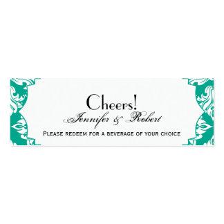 Boleto blanco de la bebida del boda del damasco tarjetas de visita mini