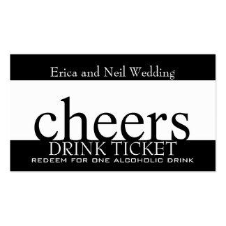 Boleto blanco negro de la bebida para las tarjetas de visita