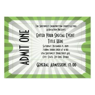 Boleto blanco/verde del acontecimiento, tamaño de tarjeta de visita