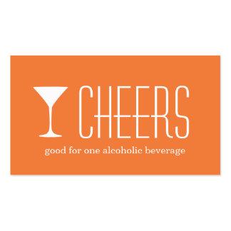 Boleto corporativo anaranjado de la bebida del tarjetas de visita