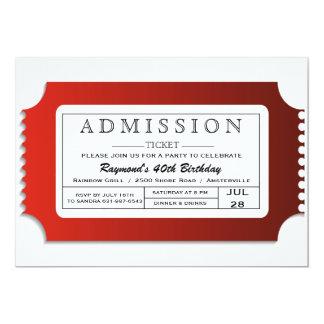 """Boleto de la admisión al fiesta invitación 5"""" x 7"""""""