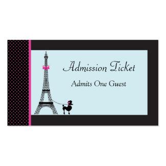 Boleto de la admisión del chica de la torre Eiffel Tarjetas Personales
