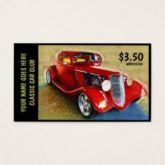 Boleto de la admisión para el salón del automóvil tarjetas de visita
