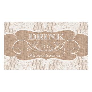 Boleto de la bebida del boda de la arpillera y de