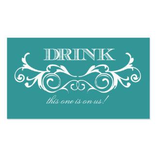 Boleto de la bebida del boda de la turquesa del tarjetas de visita