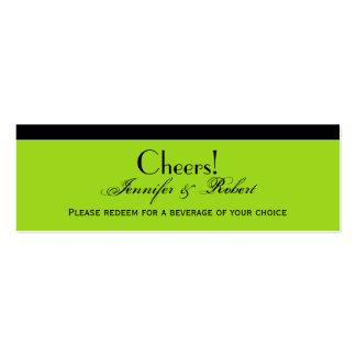 Boleto de la bebida del boda de la verde lima del tarjetas de visita mini