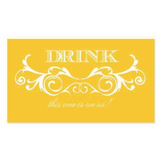 Boleto de la bebida del boda del amarillo del tarjetas de visita