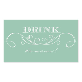Boleto de la bebida del boda del remolino de la tarjetas de visita