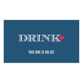 Boleto de la bebida del boda del rojo azul del cor tarjetas de visita