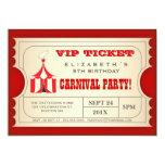 Boleto de la fiesta de cumpleaños del carnaval del invitacion personalizada