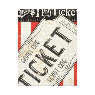 Boleto de la película del vintage lona estirada galerias