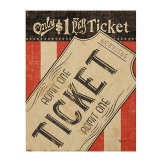 Boleto de la película del vintage impresión en madera