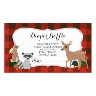 Boleto de la rifa del pañal de la tela escocesa de tarjetas de visita