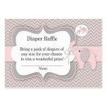Boleto de la rifa del pañal del elefante rosado tarjetas de visita