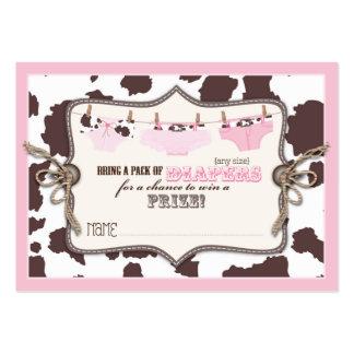 Boleto de la rifa del tutú de la vaquera y del tarjetas de visita grandes