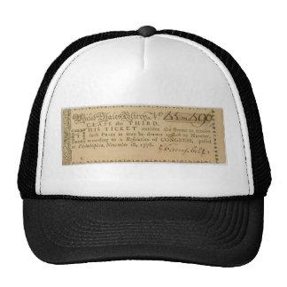 Boleto de lotería temprano de la guerra de revoluc gorras