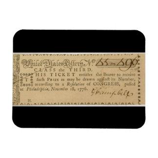 Boleto de lotería temprano de la guerra de revoluc imán de vinilo