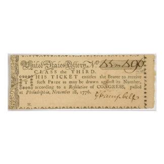 Boleto de lotería temprano de la guerra de revoluc cojinete