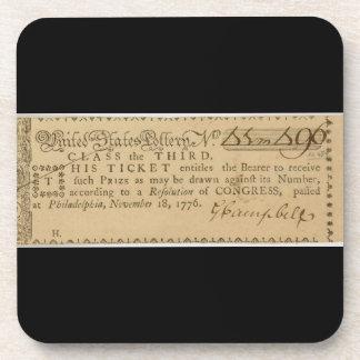 Boleto de lotería temprano de la guerra de revoluc posavasos de bebidas