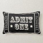 Boleto de teatro del circo blanco y negro almohada