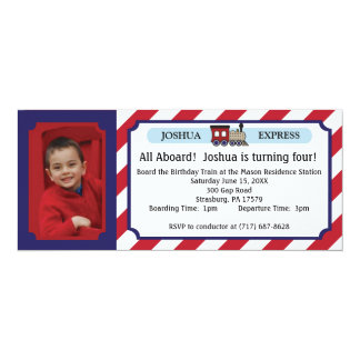 Boleto de tren de la foto - rayas rojas invitación 10,1 x 23,5 cm