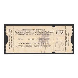 """Boleto del boda del documento de embarque de la invitación 4"""" x 9.25"""""""