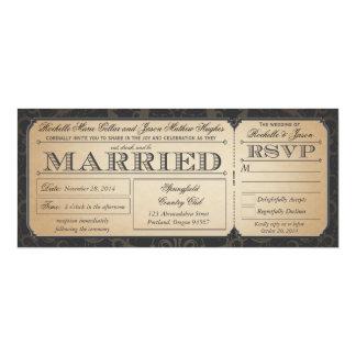 """Boleto del boda del vintage con la colección III Invitación 4"""" X 9.25"""""""