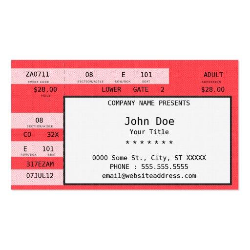 boleto del concierto plantillas de tarjetas de visita
