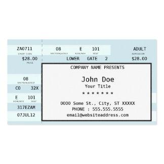 boleto del concierto tarjetas de visita