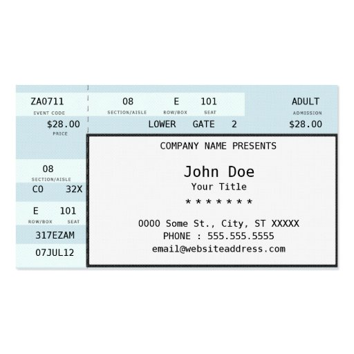 boleto del concierto tarjetas de negocios