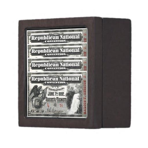 Boleto del convenio republicano 1892 cajas de joyas de calidad