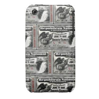 Boleto del convenio republicano 1892 iPhone 3 Case-Mate coberturas