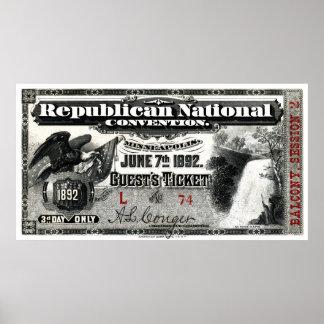 Boleto del convenio republicano 1892 impresiones