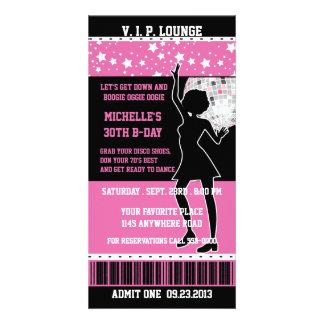 Boleto del cumpleaños de la silueta del bailarín d plantilla para tarjeta de foto