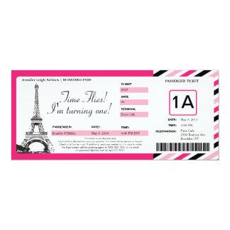 """Boleto del documento de embarque del cumpleaños de invitación 4"""" x 9.25"""""""