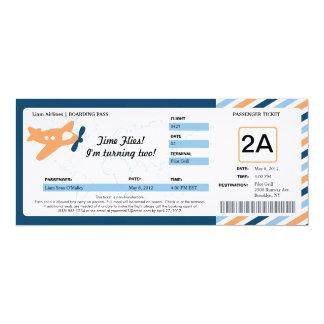 Boleto del documento de embarque del cumpleaños invitaciones personales