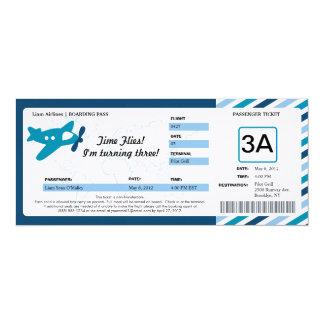 """Boleto del documento de embarque del cumpleaños invitación 4"""" x 9.25"""""""