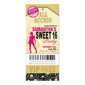 Boleto del dulce 16 del VIP (fuschia de color Invitación 10,1 X 23,5 Cm