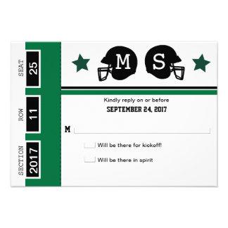 Boleto del fútbol que casa RSVP Invitacion Personalizada