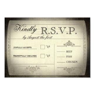 """Boleto del vintage que casa RSVP Invitación 3.5"""" X 5"""""""