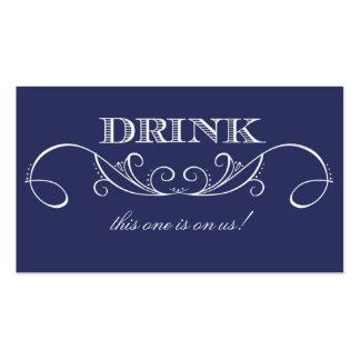 Boleto elegante de la bebida del boda del remolino tarjetas de visita