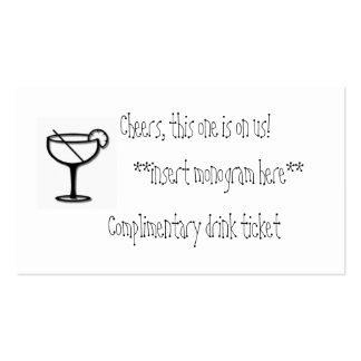 Boleto elogioso de la bebida tarjetas de visita