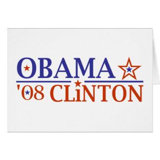 Boleto estupendo 2008 de Obama Clinton Felicitación